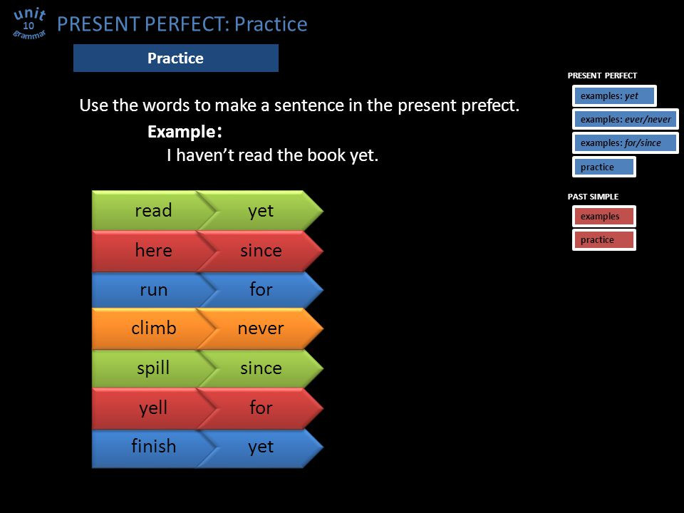 spillsince PRESENT PERFECT: Practice 10 Practice readyet Use the words to make a sentence in the present prefect.