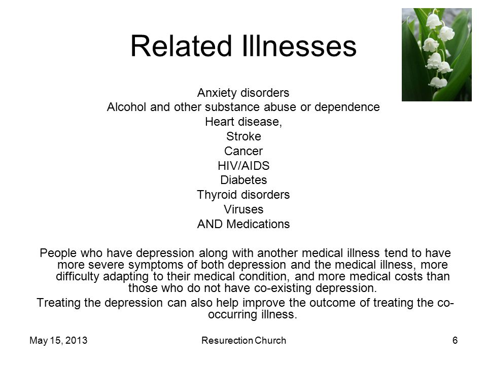 May 15, 2013Resurection Church7 Causes Combination of biological genetic environmental psychological factors