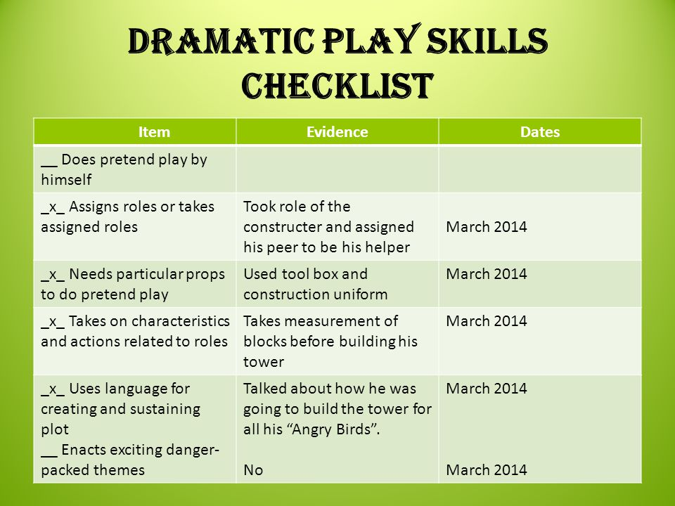 Dramatic Play Skills Checklist ItemEvidenceDates __ Does pretend play by himself _x_ Assigns roles or takes assigned roles Took role of the constructe