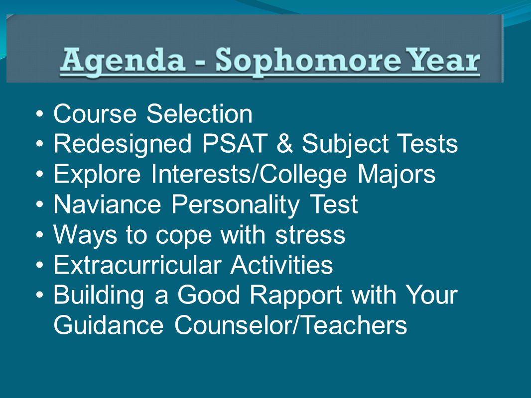 Course Selection Redesigned PSAT & Subject Tests Explore Interests/College Majors Naviance Personality Test Ways to cope with stress Extracurricular Activities Building a Good Rapport with Your Guidance Counselor/Teachers