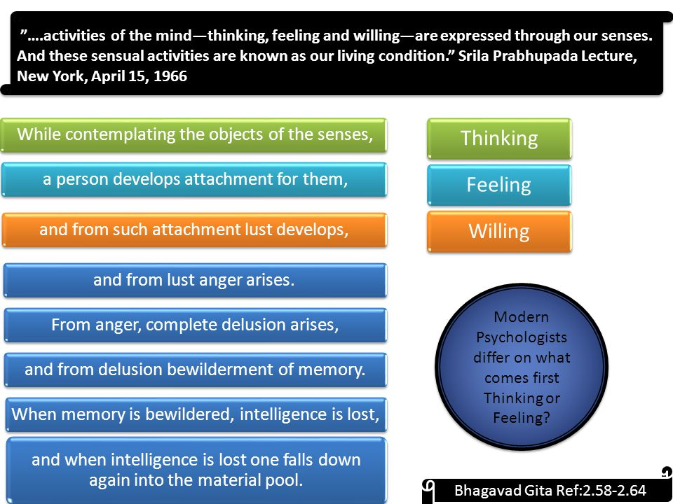 ….activities of the mind—thinking, feeling and willing—are expressed through our senses.
