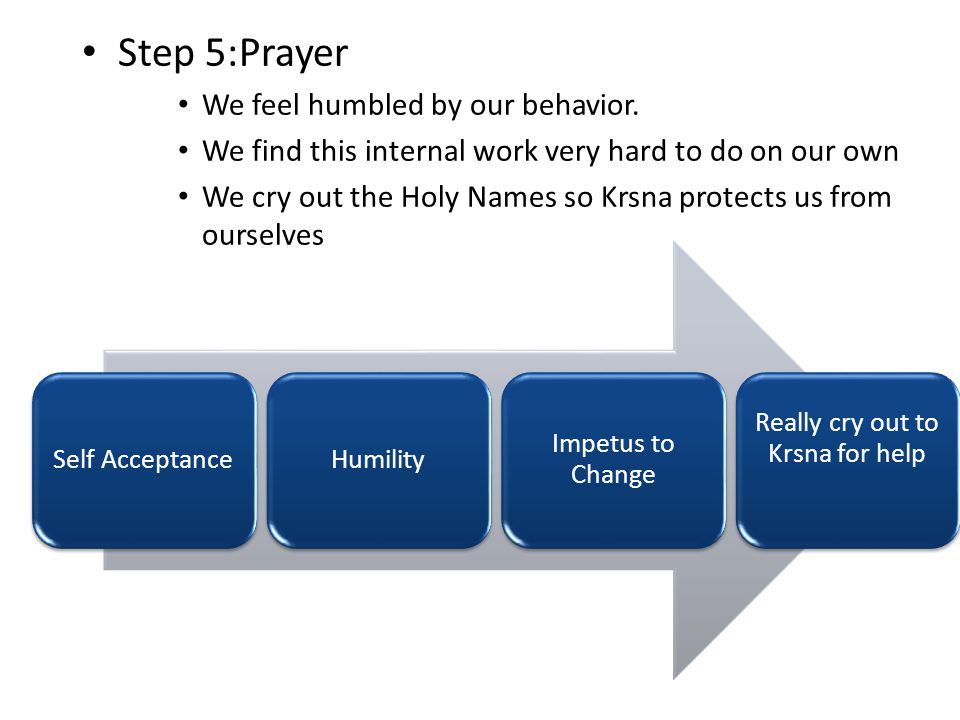Step 5:Prayer We feel humbled by our behavior.