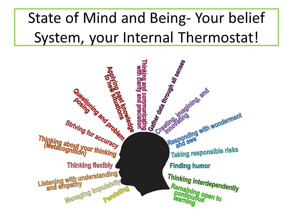 State of Mind and Being- Your belief System, your Internal Thermostat!