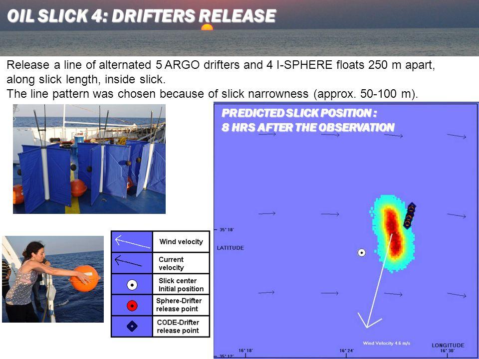 Release a line of alternated 5 ARGO drifters and 4 I-SPHERE floats 250 m apart, along slick length, inside slick.
