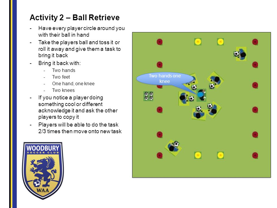 Activity 2 – Ball Retrieve -Have every player circle around you with their ball in hand -Take the players ball and toss it or roll it away and give them a task to bring it back -Bring it back with: -Two hands -Two feet -One hand, one knee -Two knees -If you notice a player doing something cool or different acknowledge it and ask the other players to copy it -Players will be able to do the task 2/3 times then move onto new task Two hands one knee
