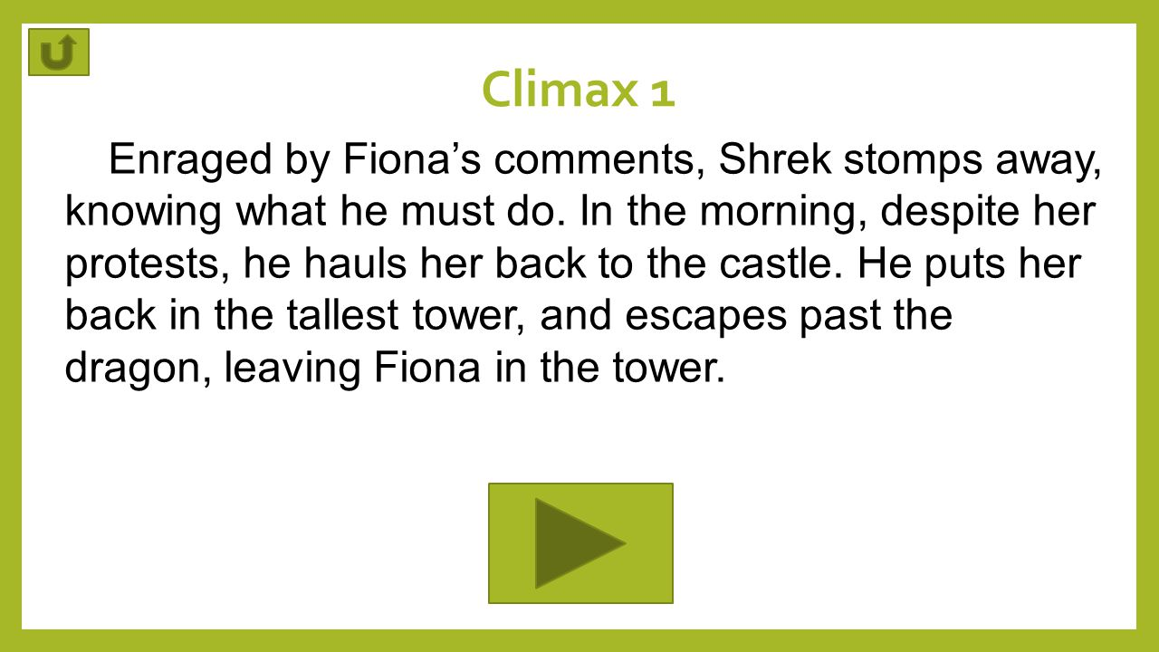 Climax 1 Enraged by Fiona's comments, Shrek stomps away, knowing what he must do. In the morning, despite her protests, he hauls her back to the castl