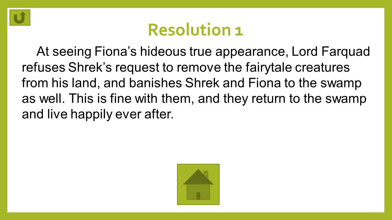 Resolution 1 At seeing Fiona's hideous true appearance, Lord Farquad refuses Shrek's request to remove the fairytale creatures from his land, and bani
