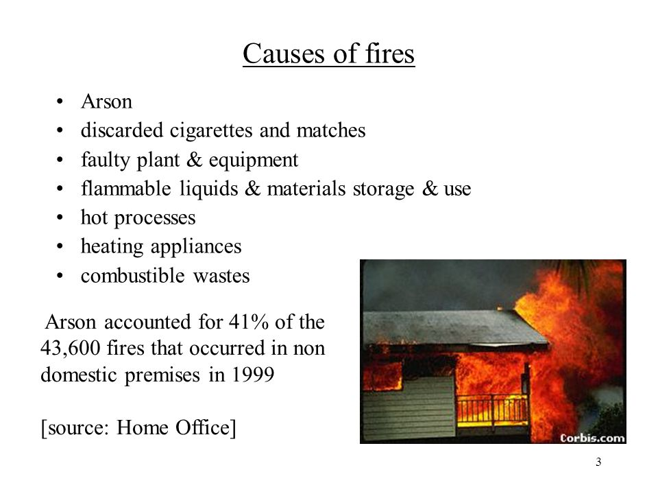 3 Causes of fires Arson discarded cigarettes and matches faulty plant & equipment flammable liquids & materials storage & use hot processes heating appliances combustible wastes Arson accounted for 41% of the 43,600 fires that occurred in non domestic premises in 1999 [source: Home Office]