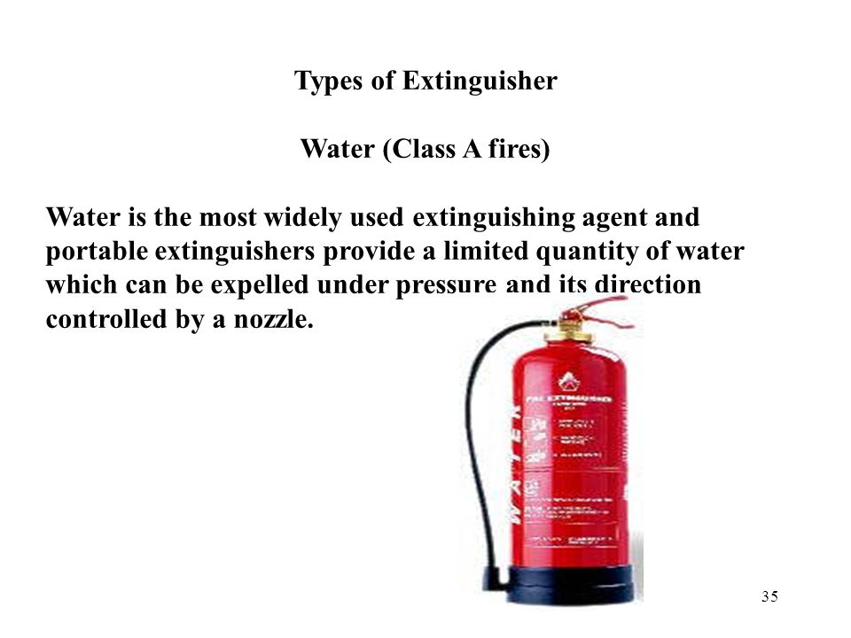 34 Classification of Fires - BS EN 2 Types of Fires Different extinguishers are used for tackling different types of fire.