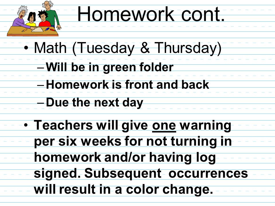 Homework cont. Math (Tuesday & Thursday) –Will be in green folder –Homework is front and back –Due the next day Teachers will give one warning per six