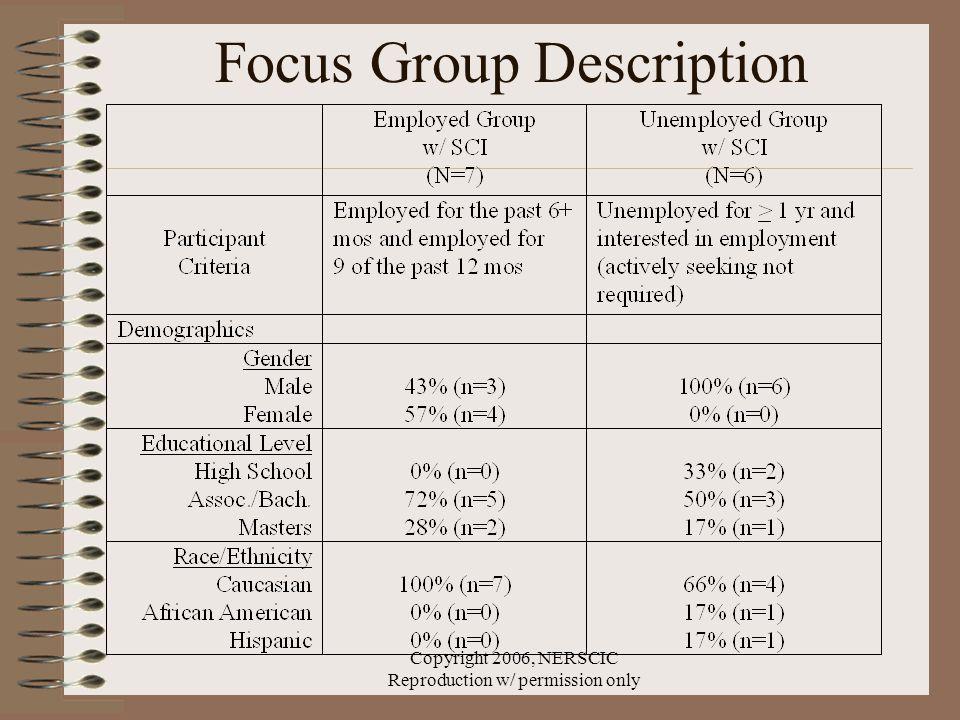 Copyright 2006, NERSCIC Reproduction w/ permission only Focus Group Description