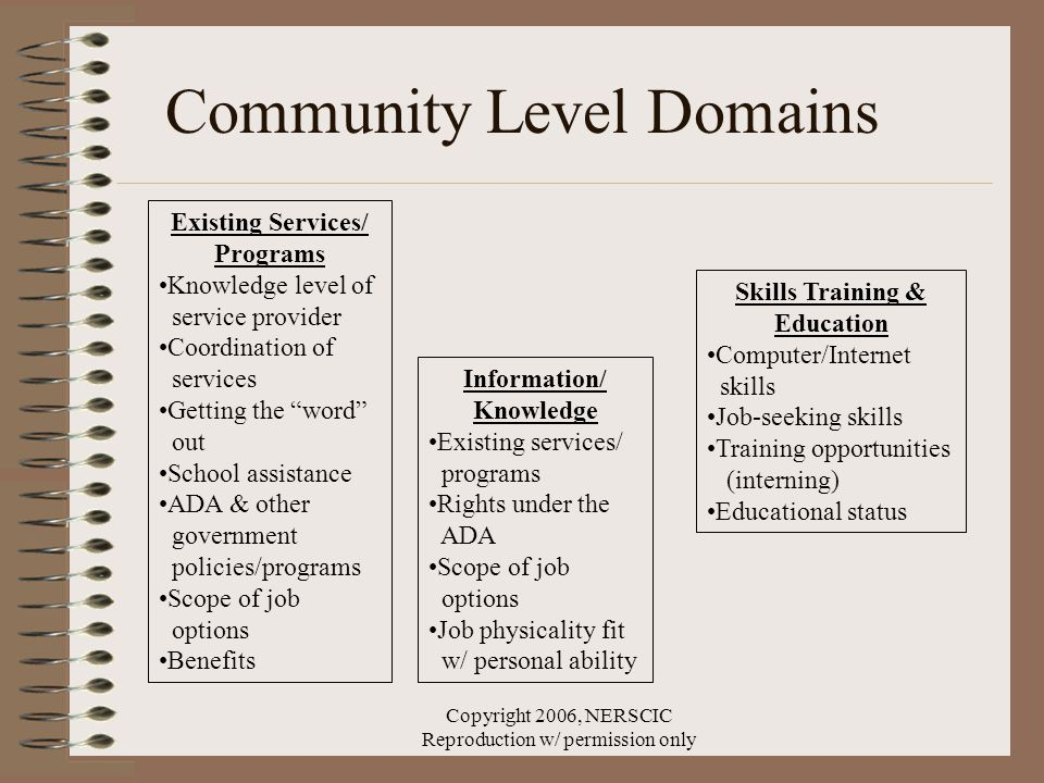 Copyright 2006, NERSCIC Reproduction w/ permission only Skills Training & Education Computer/Internet skills Job-seeking skills Training opportunities (interning) Educational status Information/ Knowledge Existing services/ programs Rights under the ADA Scope of job options Job physicality fit w/ personal ability Existing Services/ Programs Knowledge level of service provider Coordination of services Getting the word out School assistance ADA & other government policies/programs Scope of job options Benefits Community Level Domains