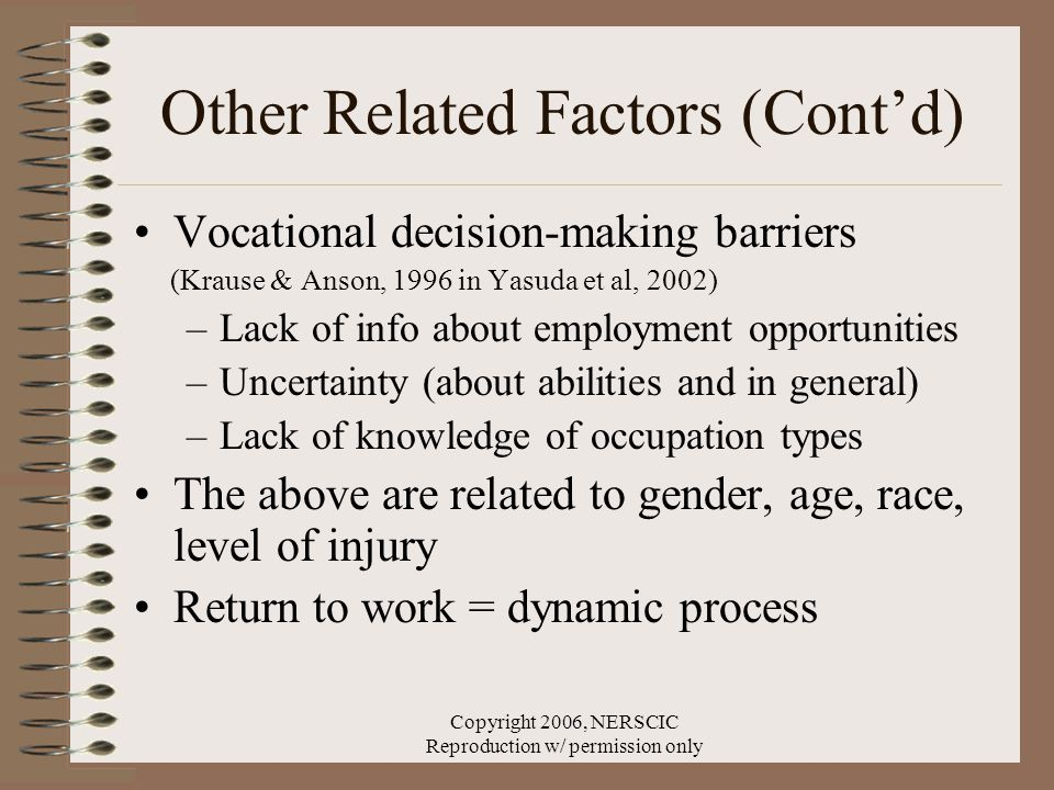 Copyright 2006, NERSCIC Reproduction w/ permission only Other Related Factors (Cont'd) Vocational decision-making barriers (Krause & Anson, 1996 in Yasuda et al, 2002) –Lack of info about employment opportunities –Uncertainty (about abilities and in general) –Lack of knowledge of occupation types The above are related to gender, age, race, level of injury Return to work = dynamic process