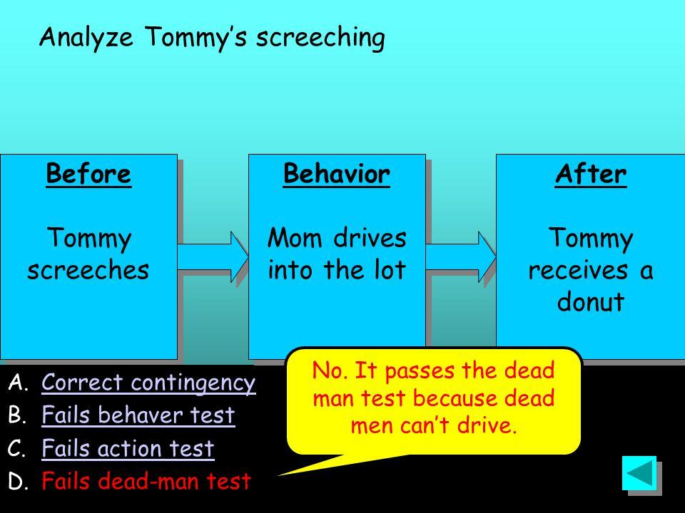 129 Before Tommy screeches Before Tommy screeches A.Correct contingencyCorrect contingency B.Fails behaver testFails behaver test C.Fails action testFails action test D.Fails dead-man test Behavior Mom drives into the lot Behavior Mom drives into the lot After Tommy receives a donut After Tommy receives a donut Analyze Tommy's screeching No.