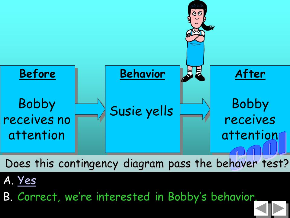 26 A.YesYes B.Correct, we're interested in Bobby's behavior.