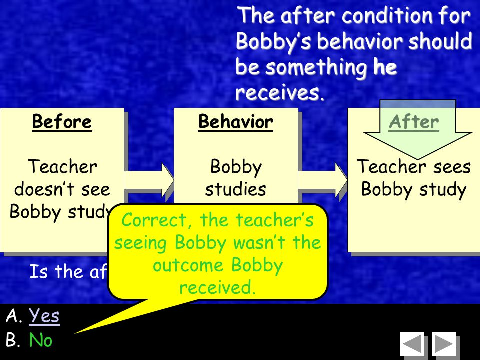49 Before Teacher doesn't see Bobby study Before Teacher doesn't see Bobby study Behavior Bobby studies Behavior Bobby studies After Teacher sees Bobby study After Teacher sees Bobby study A.YesYes B.No Is the after condition correct.