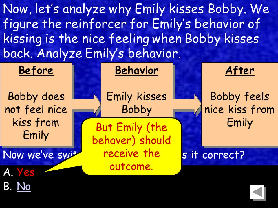 61 Before Bobby does not feel nice kiss from Emily Before Bobby does not feel nice kiss from Emily Behavior Emily kisses Bobby Behavior Emily kisses Bobby After Bobby feels nice kiss from Emily After Bobby feels nice kiss from Emily Now, let's analyze why Emily kisses Bobby.