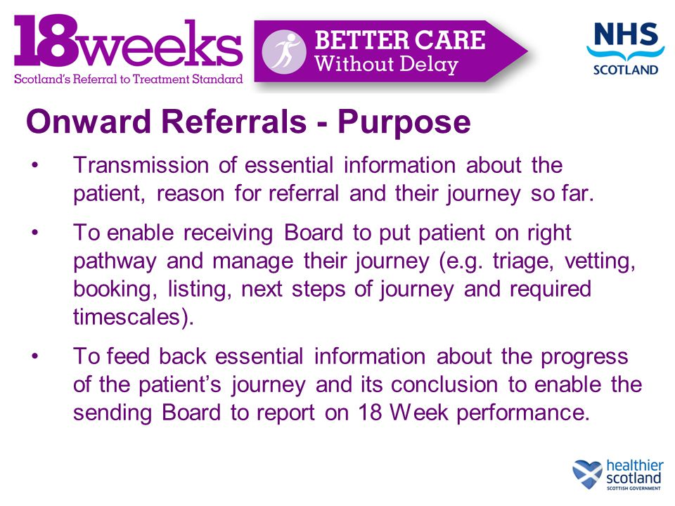 Onward Referrals - Purpose Transmission of essential information about the patient, reason for referral and their journey so far.