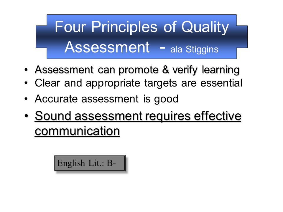 Four Principles of Quality Assessment - ala Stiggins Assessment can promote & verify learningAssessment can promote & verify learning Clear and appropriate targets are essential Accurate assessment is goodAccurate assessment is good –Clear Purpose –Clear Targets –Proper Assessment Methods –Appropriate Sample –Eliminate Bias and Distortion