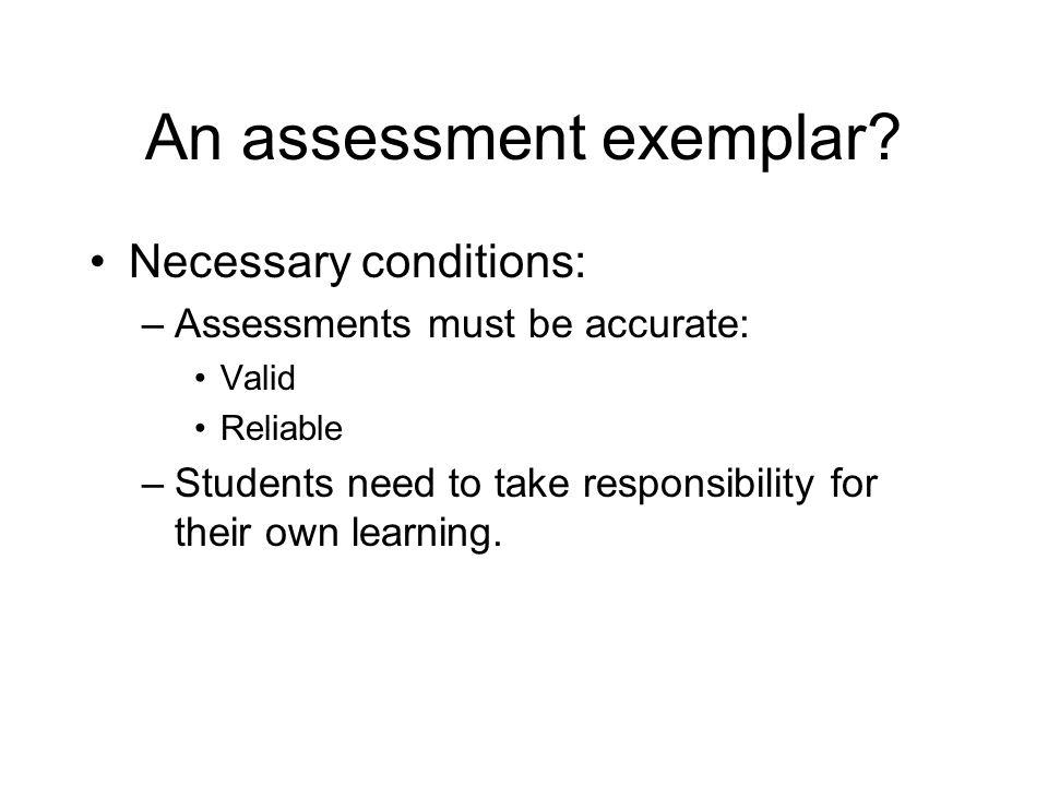 An assessment exemplar.