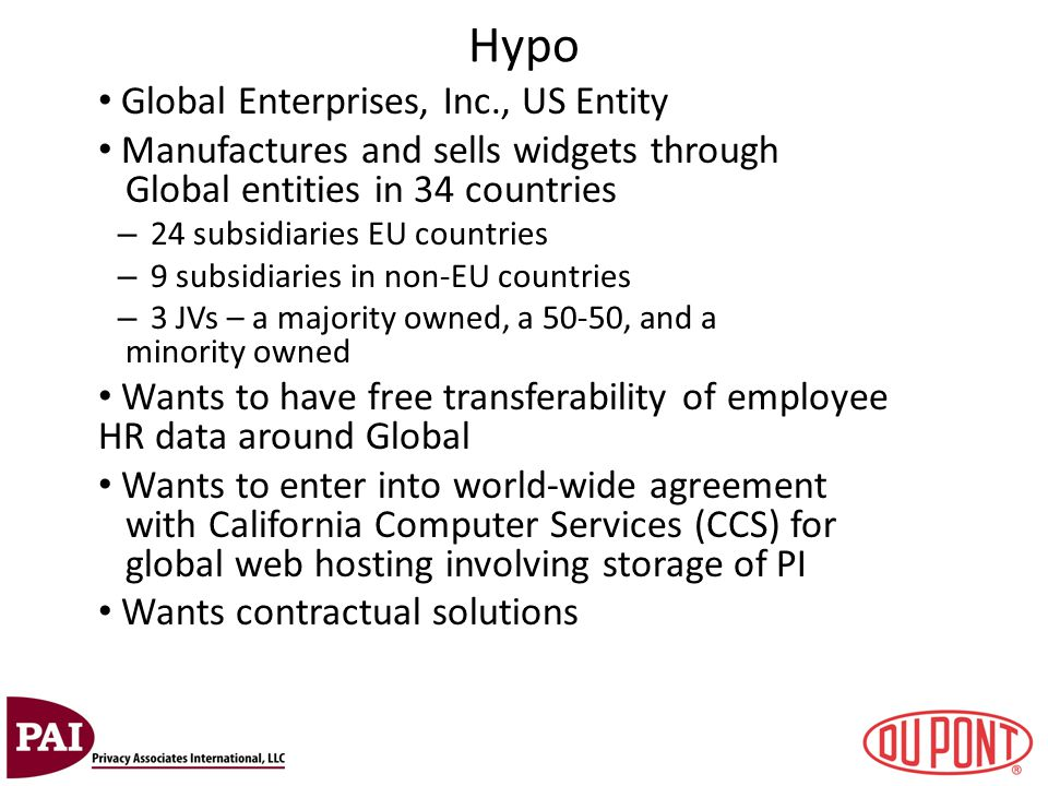 Hypo Global Enterprises, Inc., US Entity Manufactures and sells widgets through Global entities in 34 countries – 24 subsidiaries EU countries – 9 sub