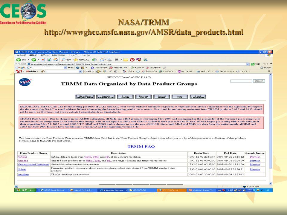 NASA/TRMM http://wwwghcc.msfc.nasa.gov/AMSR/data_products.html