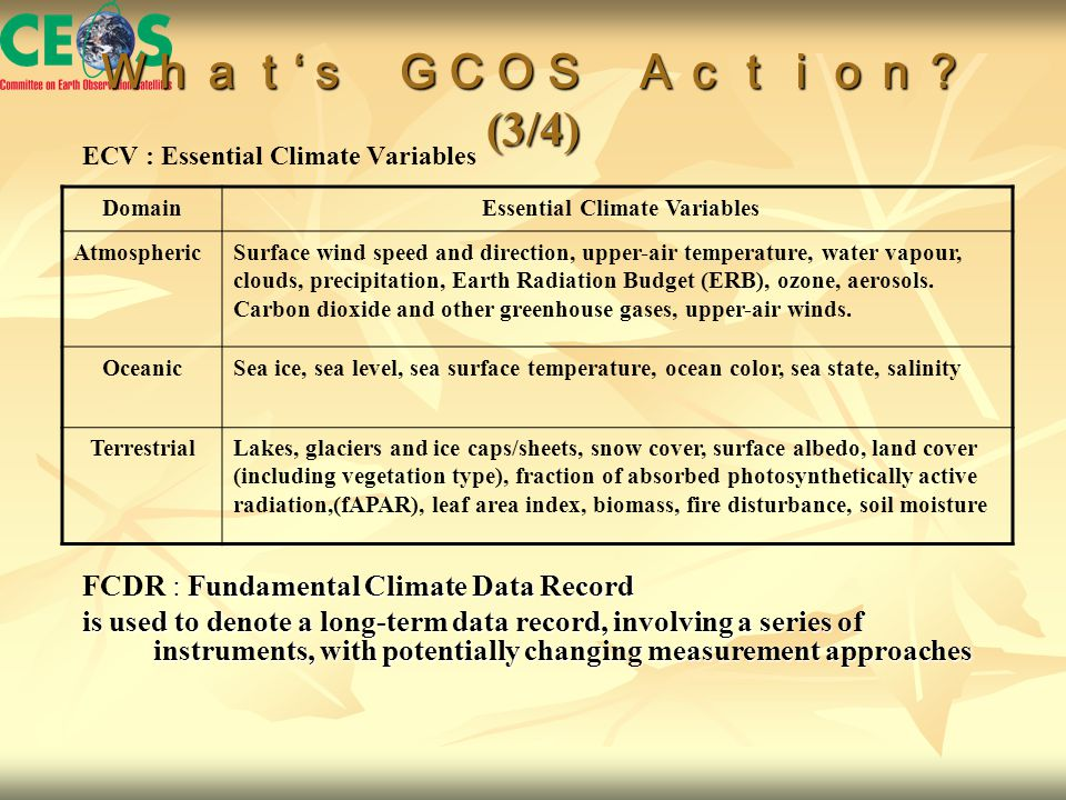 What ' s GCOS Action? (3/4) ECV : Essential Climate Variables Domain Essential Climate Variables AtmosphericSurface wind speed and direction, upper-air temperature, water vapour, clouds, precipitation, Earth Radiation Budget (ERB), ozone, aerosols.