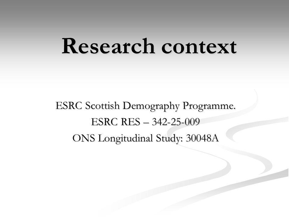 Research context ESRC Scottish Demography Programme.