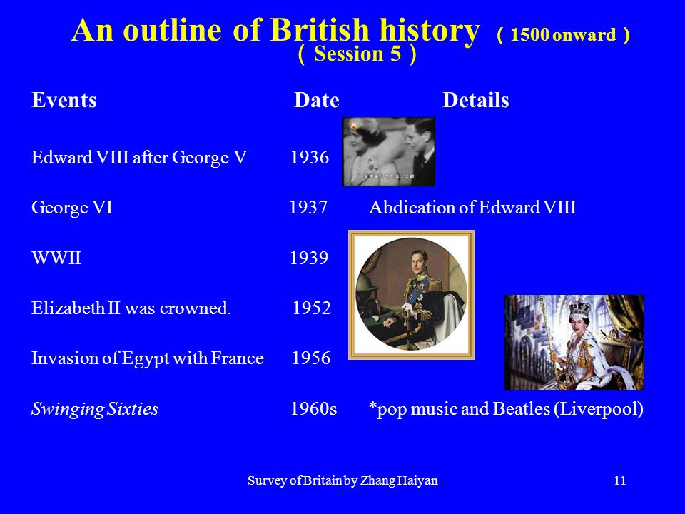Survey of Britain by Zhang Haiyan11 An outline of British history ( 1500 onward ) ( Session 5 ) Events Date Details Edward VIII after George V 1936 Ge