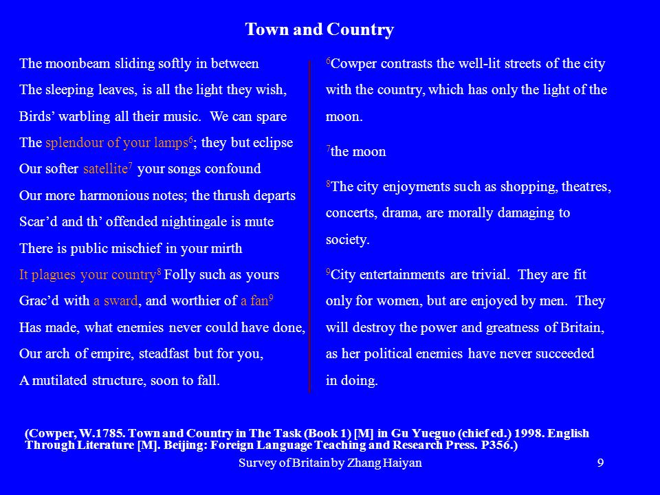 Survey of Britain by Zhang Haiyan9 (Cowper, W.1785. Town and Country in The Task (Book 1) [M] in Gu Yueguo (chief ed.) 1998. English Through Literatur