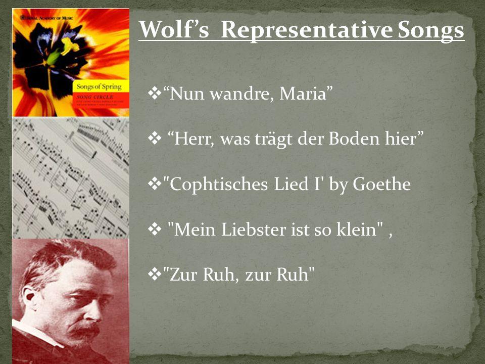 Wolf's Representative Songs  Nun wandre, Maria  Herr, was trägt der Boden hier  Cophtisches Lied I by Goethe  Mein Liebster ist so klein ,  Zur Ruh, zur Ruh