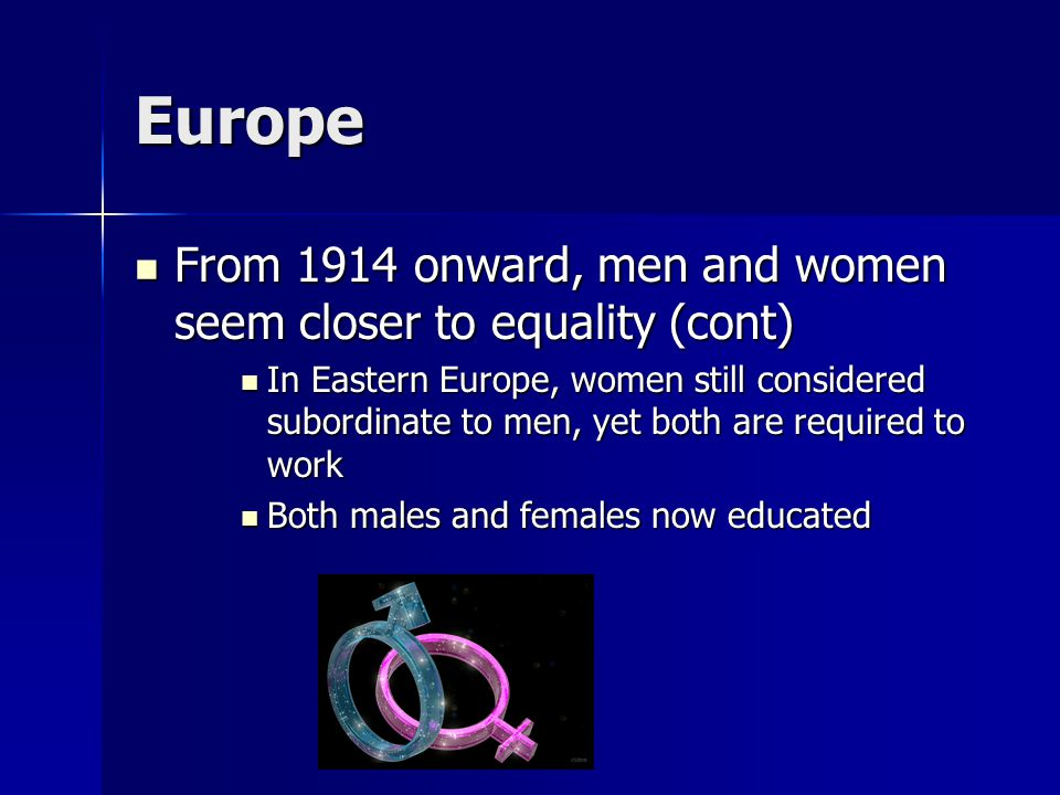 Europe From 1914 onward, men and women seem closer to equality (cont) From 1914 onward, men and women seem closer to equality (cont) In Eastern Europe, women still considered subordinate to men, yet both are required to work In Eastern Europe, women still considered subordinate to men, yet both are required to work Both males and females now educated Both males and females now educated