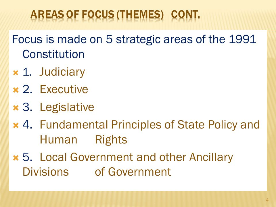 Focus is made on 5 strategic areas of the 1991 Constitution  1.