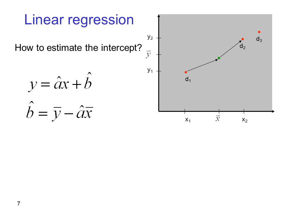 7 Linear regression How to estimate the intercept d2d2 d1d1 x1x1 x2x2 y2y2 y1y1 d3d3