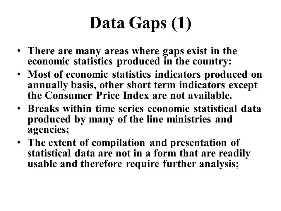 Data Gaps (1) There are many areas where gaps exist in the economic statistics produced in the country: Most of economic statistics indicators produce