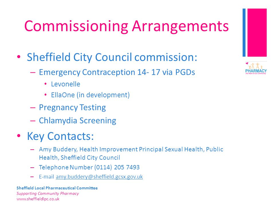 Sheffield Local Pharmaceutical Committee Supporting Community Pharmacy www.sheffieldlpc.co.uk Commissioning Arrangements Sheffield City Council commis