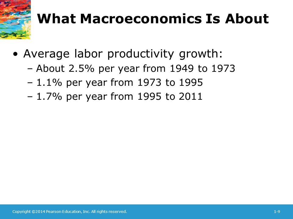 Copyright ©2014 Pearson Education, Inc. All rights reserved.1-9 What Macroeconomics Is About Average labor productivity growth: –About 2.5% per year f