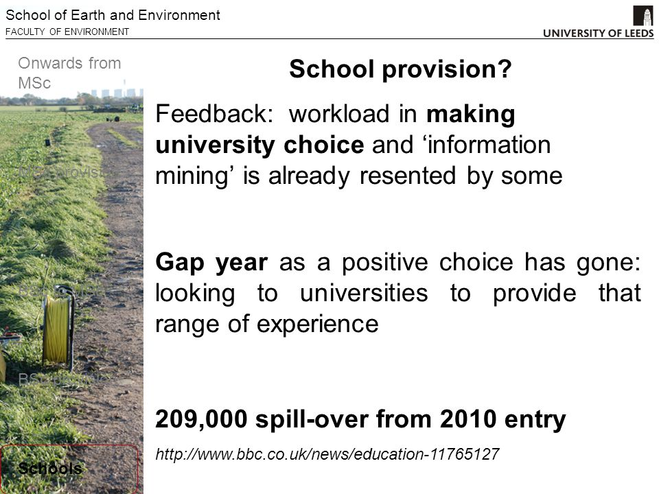 School of Earth and Environment FACULTY OF ENVIRONMENT Onwards from MSc MSc provision BSc to MSc BSc provision Schools Feedback: workload in making university choice and 'information mining' is already resented by some.
