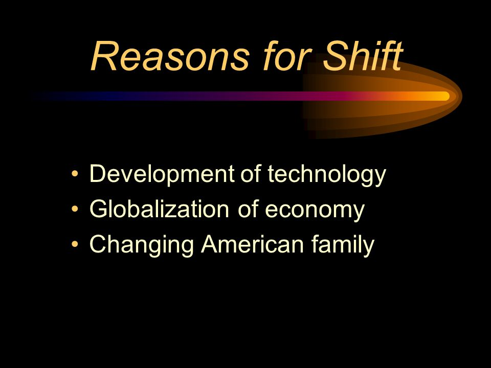 Reasons for Shift Development of technology Globalization of economy Changing American family