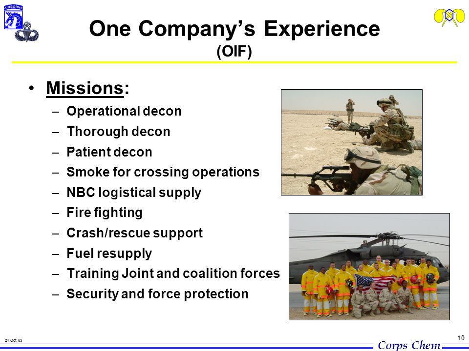 Corps Chem 24 Oct 03 10 Missions: –Operational decon –Thorough decon –Patient decon –Smoke for crossing operations –NBC logistical supply –Fire fighting –Crash/rescue support –Fuel resupply –Training Joint and coalition forces –Security and force protection One Company's Experience (OIF)