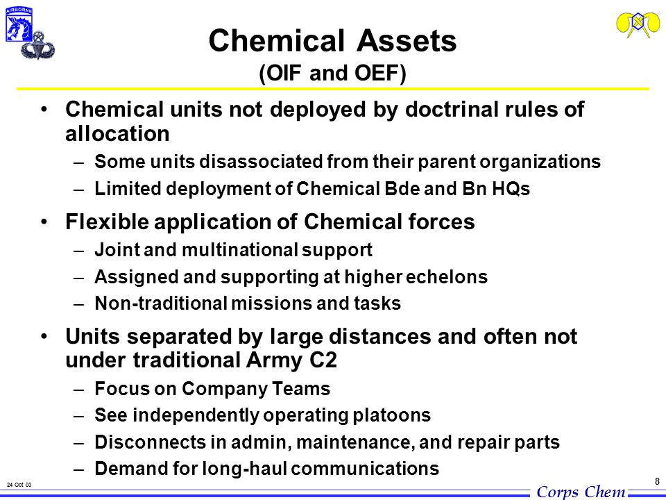 Corps Chem 24 Oct 03 8 Chemical Assets (OIF and OEF) Chemical units not deployed by doctrinal rules of allocation –Some units disassociated from their parent organizations –Limited deployment of Chemical Bde and Bn HQs Flexible application of Chemical forces –Joint and multinational support –Assigned and supporting at higher echelons –Non-traditional missions and tasks Units separated by large distances and often not under traditional Army C2 –Focus on Company Teams –See independently operating platoons –Disconnects in admin, maintenance, and repair parts –Demand for long-haul communications
