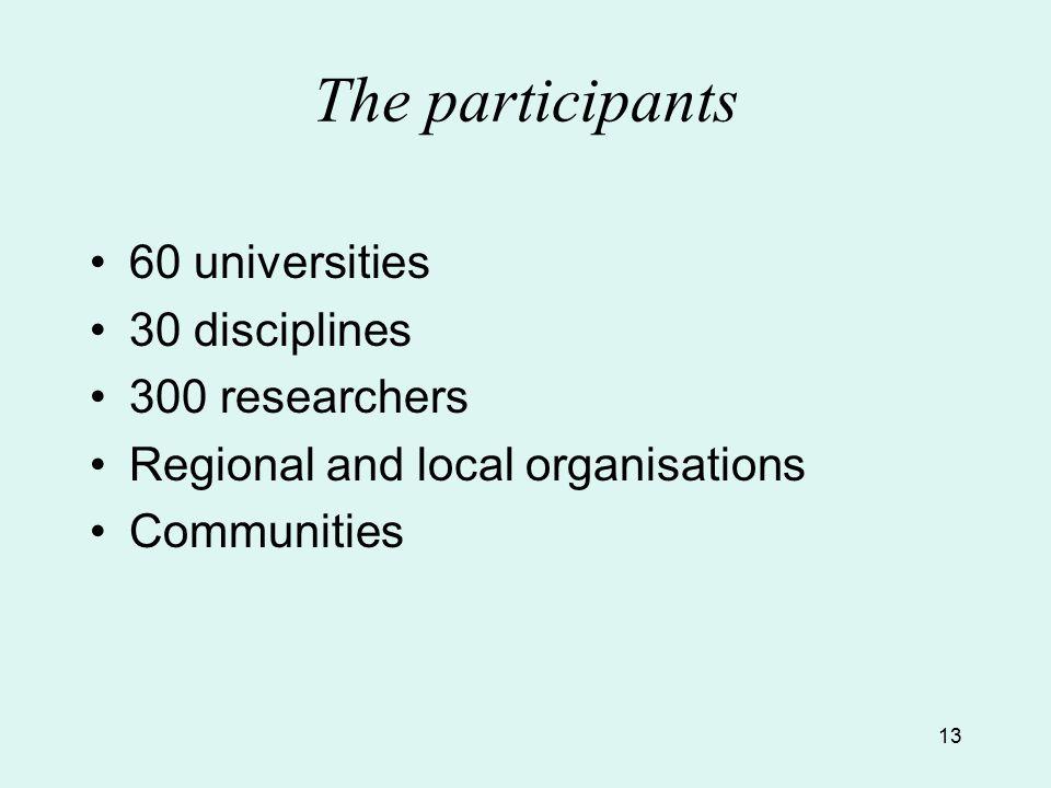 13 The participants 60 universities 30 disciplines 300 researchers Regional and local organisations Communities
