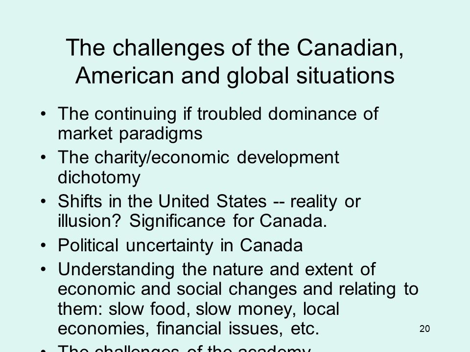20 The challenges of the Canadian, American and global situations The continuing if troubled dominance of market paradigms The charity/economic development dichotomy Shifts in the United States -- reality or illusion.