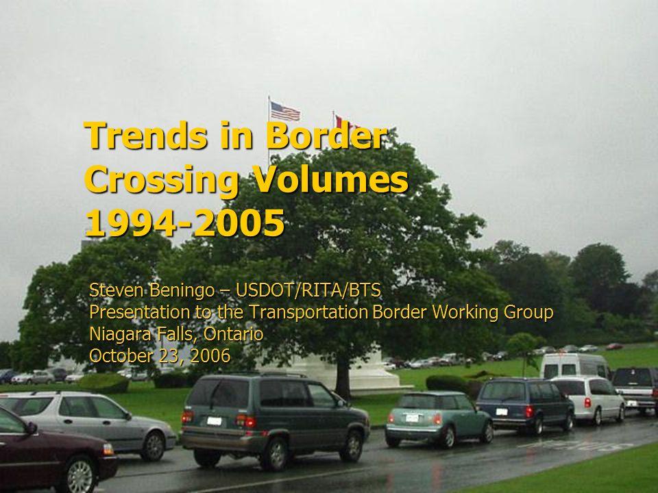 Trends in Border Crossing Volumes 1994-2005 Steven Beningo – USDOT/RITA/BTS Presentation to the Transportation Border Working Group Niagara Falls, Ontario October 23, 2006