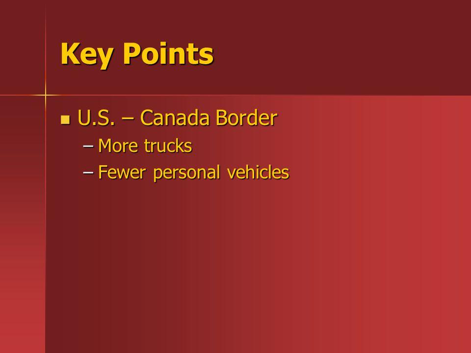 Key Points U.S. – Canada Border U.S. – Canada Border –More trucks –Fewer personal vehicles