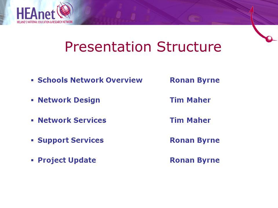 Presentation Structure  Schools Network OverviewRonan Byrne  Network Design Tim Maher  Network ServicesTim Maher  Support ServicesRonan Byrne  Project UpdateRonan Byrne