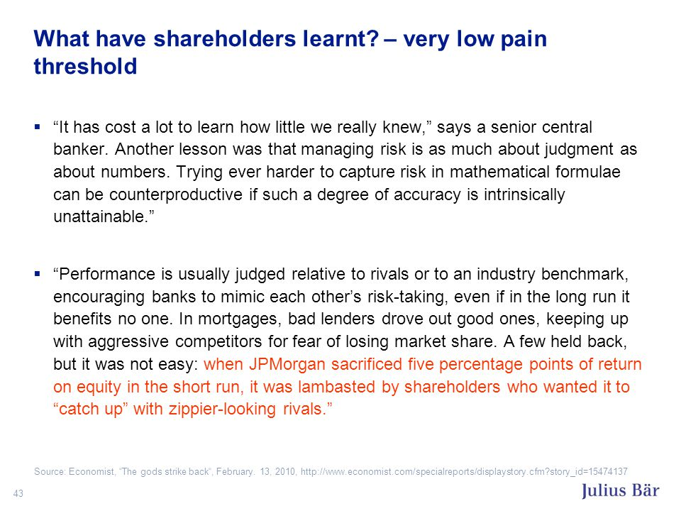 43 What have shareholders learnt.