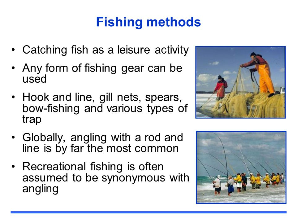 Fishing methods Catching fish as a leisure activity Any form of fishing gear can be used Hook and line, gill nets, spears, bow-fishing and various typ