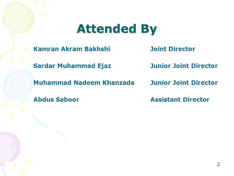 Attended By Kamran Akram BakhshiJoint Director Sardar Muhammad EjazJunior Joint Director Muhammad Nadeem KhanzadaJunior Joint Director Abdus SaboorAssistant Director 2