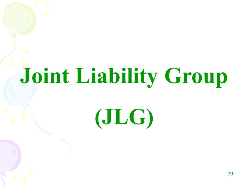 29 Joint Liability Group (JLG)